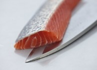 Trout fillet with knife